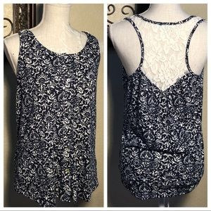 Maurices Floral Button Up Tank Lace Back Navy